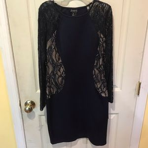 Size 8 navy stretch dress with lace sleeves